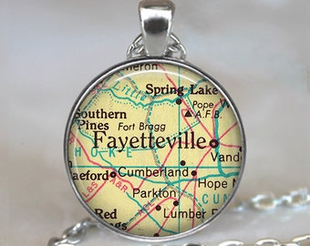 Fayetteville, North Carolina pendant, Fayetteville map necklace, Fayetteville map pendant, Ft Bragg map necklace keychain key fob
