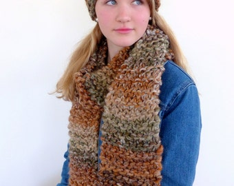 Chunky knit scarf, brown knit scarf, hand knitted long scarf , chunky scarf, gift for her