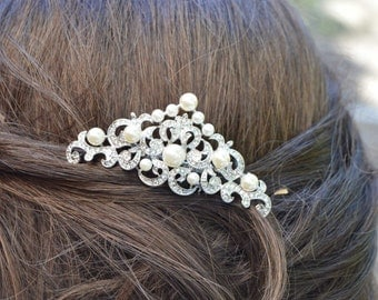Wedding Hair comb, Bridal Hair Comb, Pearl and crystal comb,Crystal comb, rhinestone comb, Bridal Crystal hair comb, Victorian headpiece