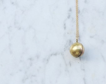 Minimalist Gold Ball Locket / Antiqued Brass Pendant on Copper Chain / bridesmaids gift