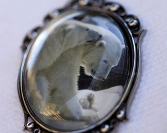Polar Bear Necklace, Nature Necklace, Bear Jewelry, Romantic Necklace, Anniversary Gift, Nature Lover Gift, Black and White Photograph