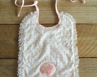 Vintage Baby Bib // Pink Rosettes, Kitty & Lace