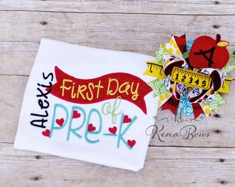 Pre-K School Girl Personalized Shirt, Back to School Hair Bow, 1st day of School Outfit, First Day of Pre-K