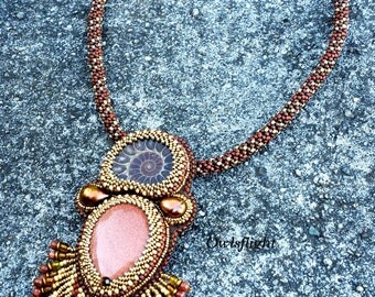 Sand and Sea -Ammonite and Goldstone necklace