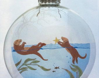 Little Otters Christmas Holiday Ornament