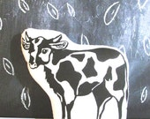 Plush Cow Pillow. Hand Woodblock Printed. Pick ANY Color. Made to order.