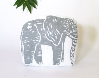 Plush Elephant Pillow. Woodblock Printed.Choose ANY Color. Made to order.