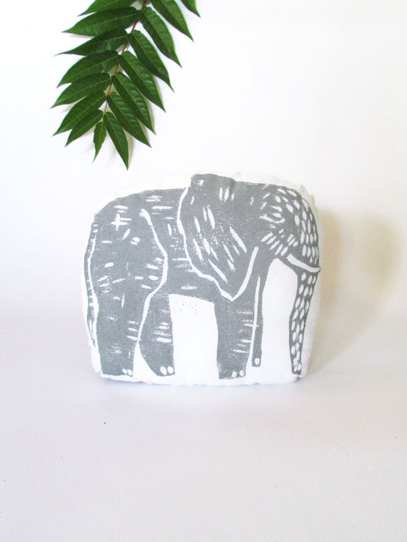 Plush Elephant Pillow. Woodblock Printed.Choose ANY Color. Made to order. Xmas Order deadline DEC 3rd