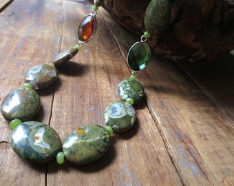 Statement Necklace, Rhyolite Necklace, Stone Necklace, Topaz Glass Beads, Emerald Glass Beads