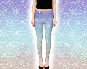 Ombre Flower Of Life Leggings - Pastel Sacred Geometry Festival Pants - Gradient Lavender Flower of Life Yoga Pants - Handmade Boho Tights