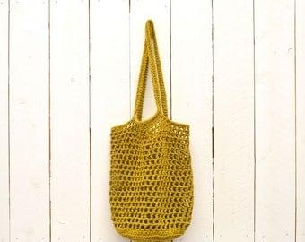 Crochet Bag Pattern Market Tote Shopping Bag Pattern PDF Download Open Weave Cotton DIY
