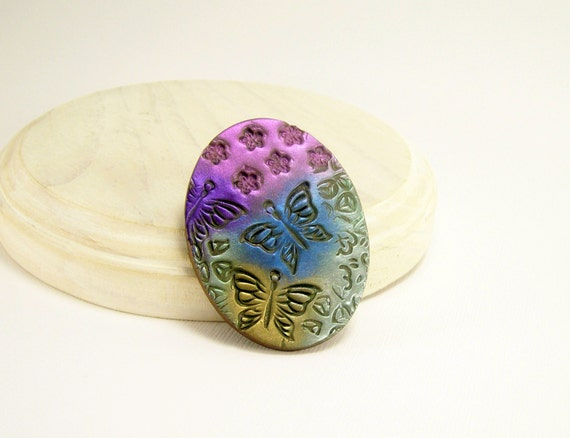 Butterfly Clay Brooch Pin, Shimmery Multicolored Pin, Fun Jewelry, Scarf Pin, Coat Pin, Affordable Handmade Polymer Clay Jewelry