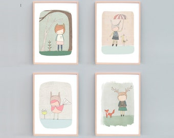 "Art Prints for Nursery, Woodland Nursery Decor, Forest Animals, Rabbit, Fox, Deer, Set of Four Prints - A4 or 8x10"" Girls Room Art Whimsical"