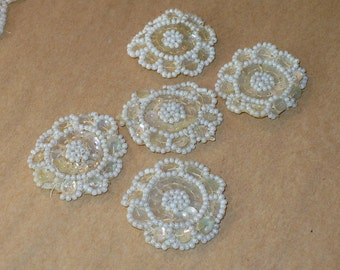 "1 3/8"" Vintage 1920's Flower Appliques, White Beaded Sequined Medallions, Vintage Sewing Supply"