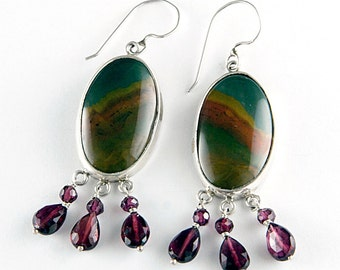 Rainbow Desert Owyhee Picture Jasper and Sterling Silver Earrings