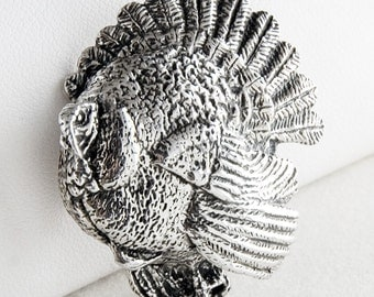 Gobble Gobble Turkey Sterling Silver Pin