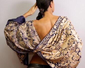 Purple Shawl, Pashmina, Silk Shawl Wrap, Wool Pashmina, Wedding Bridal Shawl, Pure Silk Embroidered Shawl Beaded Shawl, Unique Women Gift