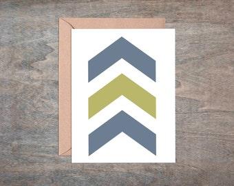Arrows Green Blue Neutral Chevron Minimalist Geometric Blank Greeting Note Card Set of 6