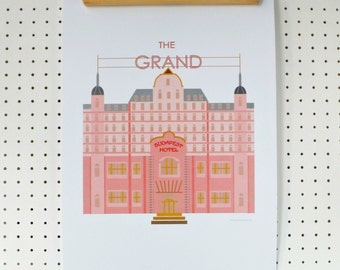 Grand Budapest Hotel Inspired Print A3 Poster Pink