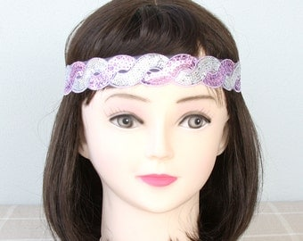 Purple boho headband silver hippie headband braided headband sequin headband adult headband woman bohemian headband fashion headbands