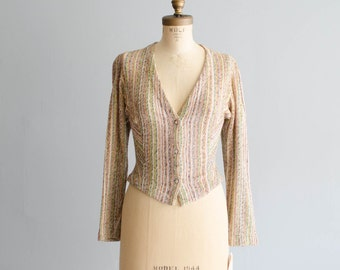 80s Missoni Sweater - Vintage 1980s Designer Cardigan - Missoni Striped Cardigan Sweater