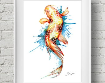 Watercolor painting koi art water ballet japanese carp for Japanese koi fish wholesale