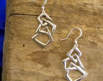 Art Deco Silver Earrings, 1920's Silver Earrings, Handmade, Sterling Silver, Geometric Earrings
