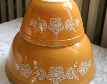 Mustard Yellow Brown with Flowers Pattern Mixing Bowl Set