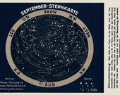 1900 Antique STARS MAP fine lithograph, september constellations, 115 years astronomy old print.