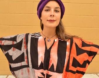 Vintage Oversized Ethnic BATIK Tie Dye Tribal Batwing TOP BLOUSE