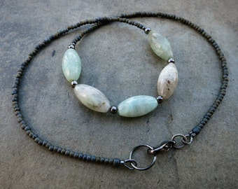 Mint Green Aquamarine Necklace, rustic light green, white, and gray  Bohemian style beaded March birthstone jewelry