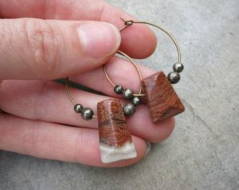 Bohemian Red Jasper Earrings, Boho wire hoop earrings with asymmetrical rust / brick red striped brecciated jasper drops