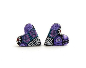 Purple Millefiori Heart Stud Earrings, Polymer Clay, Hypo Allergenic, Stainless Steel, Supremily Jewellery
