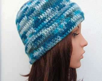 Blue Beanie Hand Crocheted Hat Womens Crochet Hat Aqua and Grey Handmade Hat