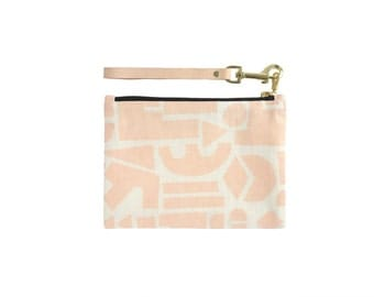 Shapes Clutch - Leather Wristlet - Geometric Modern Organic Cotton