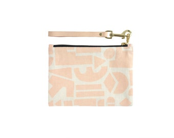 Shapes Clutch - Leather Wristlet - Geometric Modern Organic Cotton