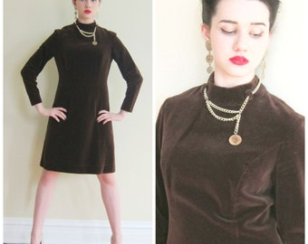 Vintage 1960s Brown Velvet Day Dress with Gold Coin Chain / 60s Long Sleeved Dress / Medium