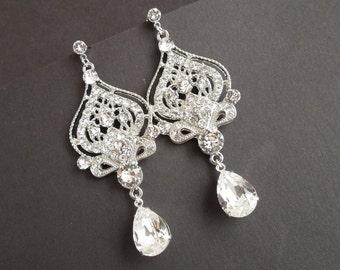 Bridal Earrings Swarovski crystal Chandelier Earrings Long Rhinestone Earrings Wedding Crystal Earrings Statement Bridal Earrings STELLA