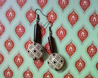 Black & White Geometric Design Earrings (2161)