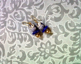Blue, Gold and White Owl Earrings (2164)
