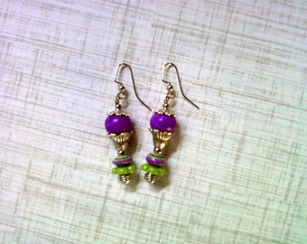 Grape, Lime and Silver Flower Earrings (2169)