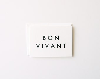 Bon Vivant - Letterpress Greeting Card