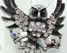 Winged Owl Cocktail Ring/Statement Ring/Silver/Rhinestone/Aurora Borealis/Gift/Unisex/Special Occasion/Fall Jewelry/Under 20 USD/Adjustable