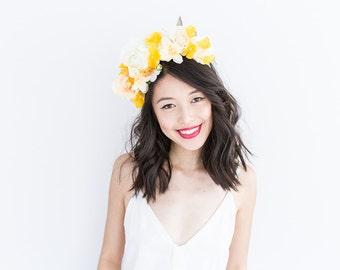 colourful spring floral headpiece // Daisy / bright rose leaf flower statement headband, fascinator, garden wedding, spring