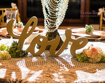Wedding Love Sign for Wedding Table Calligraphy Style Wedding Table Sign Candy Bar Sign and Other Table Decor (Item - TLO100)