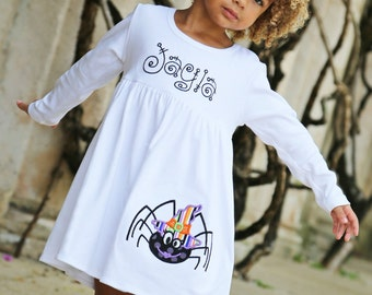 Halloween Dress, Spider Dress, Halloween Knit Dress, Appliqued Dress, Toddler Girls Dress, Embroidered Dress, Monogrammed Dress, Baby Girl