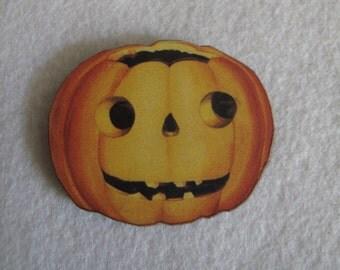 Orange Jack-o-Lantern Needle Minder with double magnet by cheswickcompany