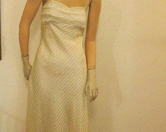 SALE  Vintage Creme Stripe Silk Tea Length Dance Prom Dress Shelf Bust New Wave