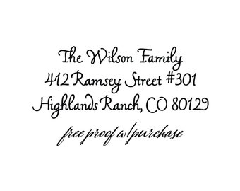 Calligraphy Script Return Address Stamp.  Mounted with a Handle or Self Inking Return Address Stamp. (2 1/2 x 1 inches) 20345