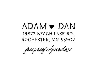 Return Address Stamp featuring Simple Sans Hand Lettering with a Heart.  Small return address stamp   (20432) - (1 7/8 x 3/4)